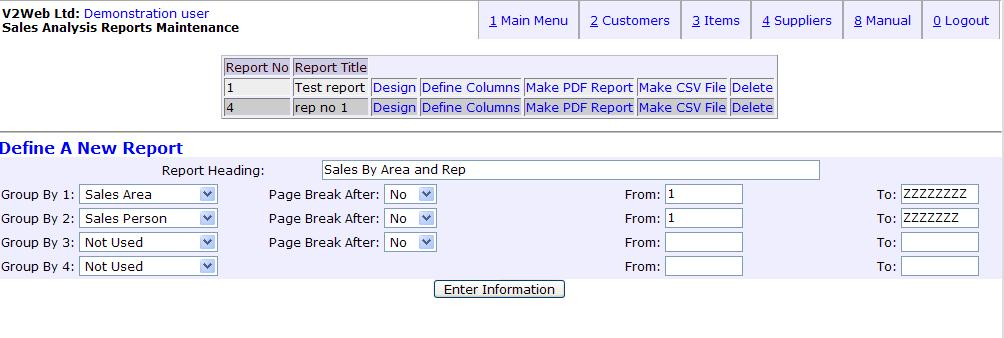 webERP: Sales Analysis Report function